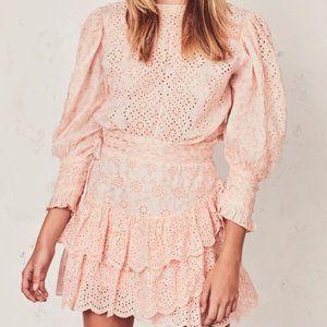 Loveshackfancy Lorelei dress pink eyelet floral L